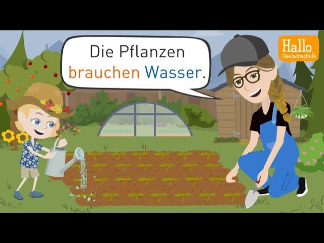 Deutsch lernen   Belinda hilft Tante Bibi im Garten   Wortschatz, Grammatik, Satzstrukturen!