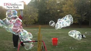 Harlem Man Makes His Living Blowing Bubbles