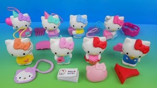 2014 HELLO KITTY 40th ANNIVERSARY BIRTHDAY SET OF 8 McDONALD'S HAPPY MEAL KID'S TOY'S VIDEO REVIEW