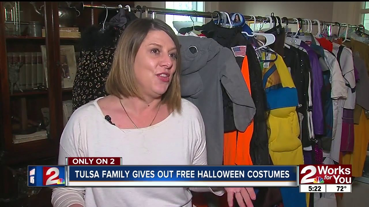 tulsa family gives out free halloween costumes - youtube