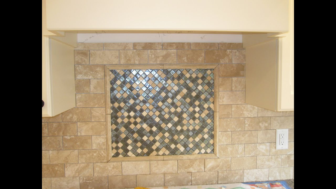 Tumbled marble backsplash with glass mosaic tile youtube Backsplash mosaic tile