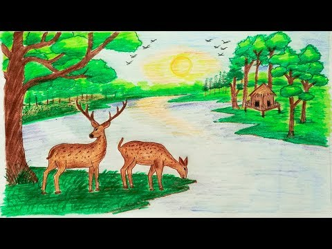 how-to-draw-scenery-of-forest-step-by-step-|-deer-|-very-easy