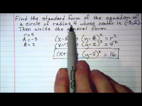 Radius And Center For A Circle Equation In Standard Form Algebra
