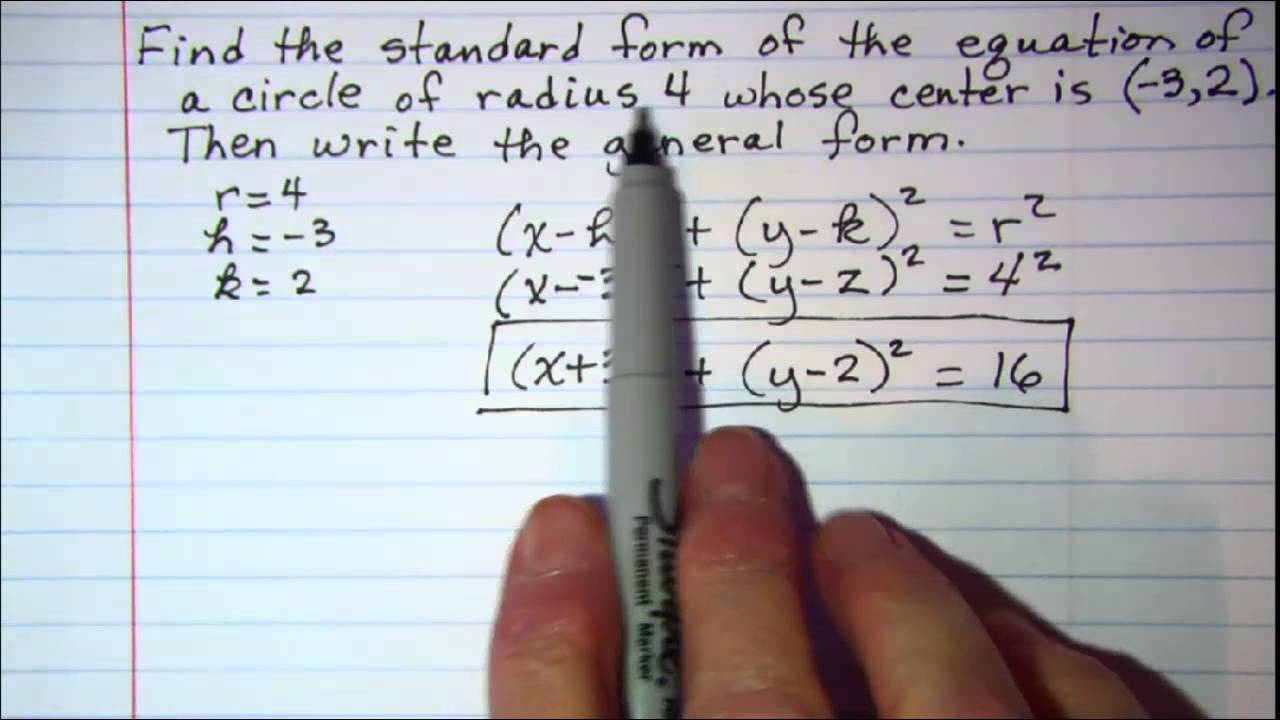 Standard form and General form of circle equations - YouTube