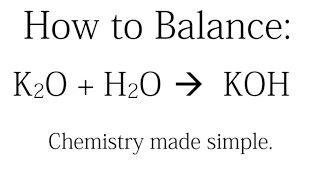 how to balance k2o h2o koh