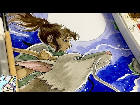 Painting Chihiro And Haku From Spirited Away Watercolors Youtube