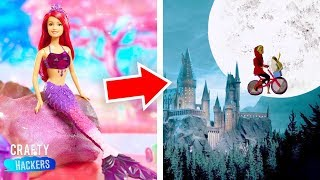 30 DIYs TO Create Miniature Movie Sets | Harry Potter, Little Mermaid and E.T. | Barbie Hacks