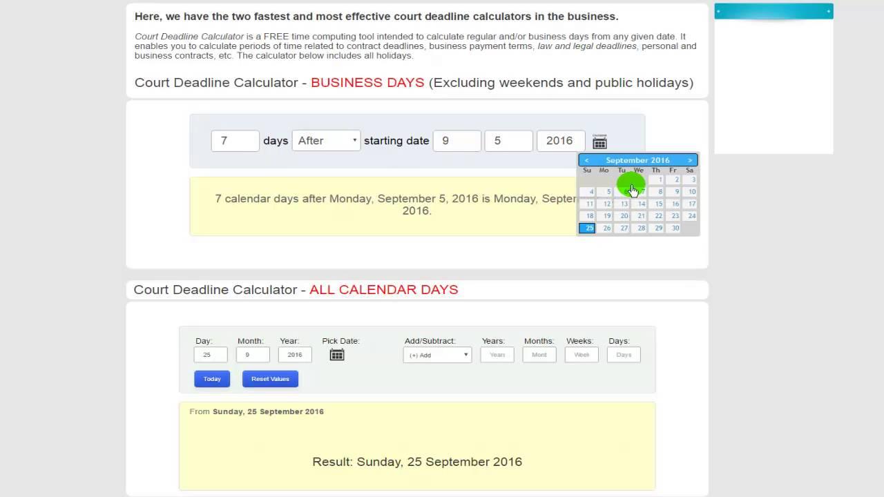 Deadline Calculator - The fastest calculators in law office business