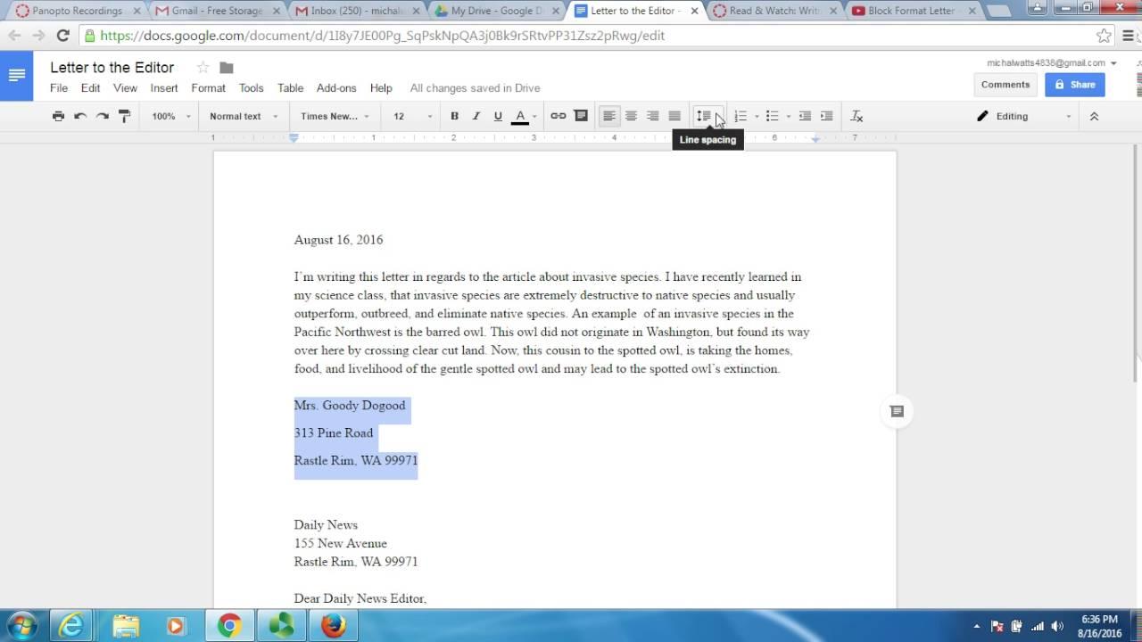 Block Letter Format Google Docs