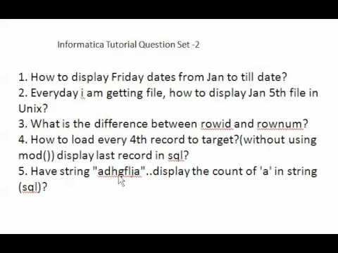 Informatica Interview Questions Set 2