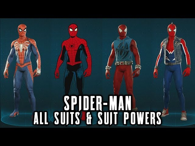 Spider-Man PS4 - All Suits & Suit Powers (Costumes)