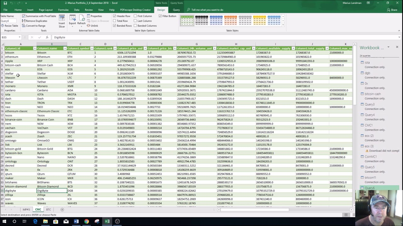 get cryptocurrency exchange prices for spread sheets calc