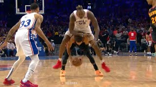 Trae Young gets bowled over by Dwight Howard, gets up and does some push-ups 😄 76ers vs Hawks Game 7