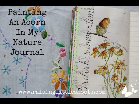 Painting an acorn in my nature journal