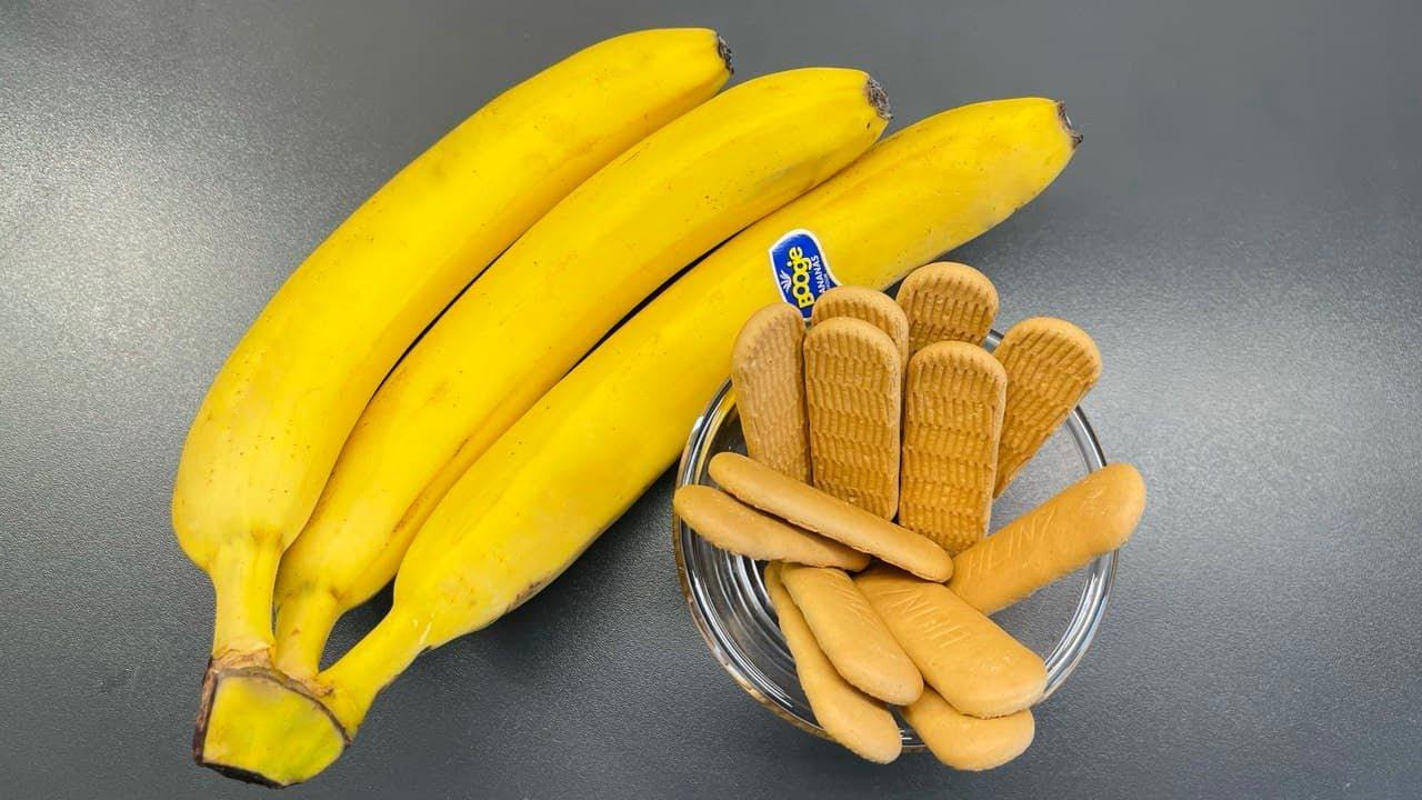 Download Bananen und Kekse mischen. Sie werden begeistert sein. Nur 3 Zutaten.