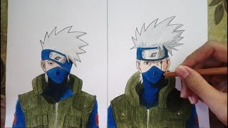 Speed Drawing: KAKASHI Before And After Activating Sharingan | Naruto