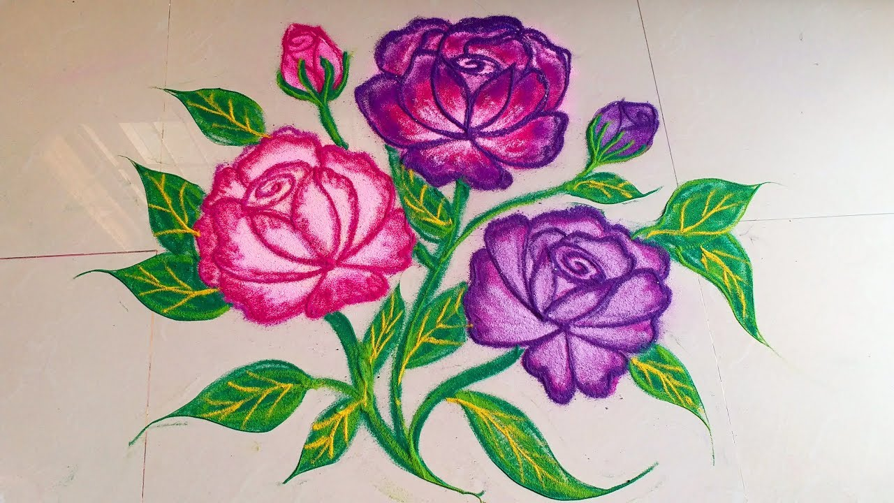 How To Draw Beautiful Rose Flower Rangoli Designs With Colours