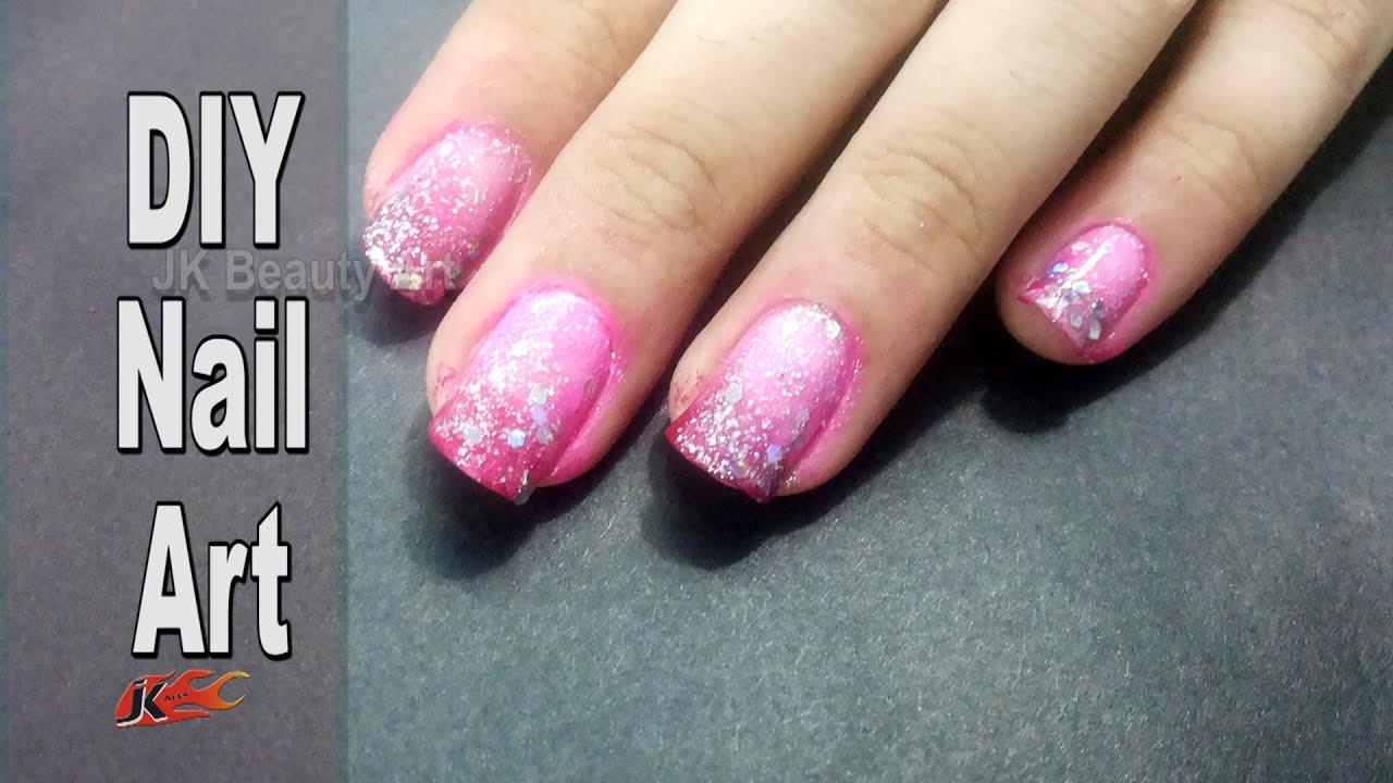 Easy Shaded Pink Rose Nail Art | How to do | JK Beauty Art 016 - YouTube