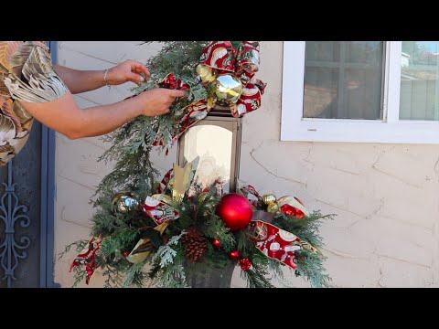 How To Decorate A  Lantern for Christmas ( easy planter decor ideas )