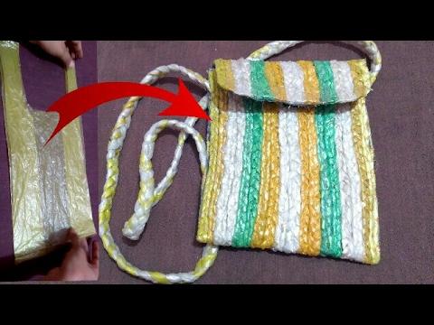 Recycle Plastic Bag :- How To Make Side Bag With Plastic Bag   HMA##022
