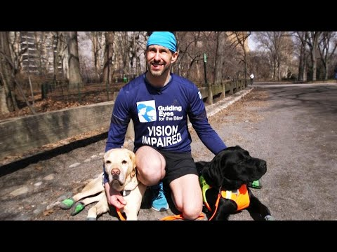 The Sports Feed - Blind Runner Makes History Finishing Half Marathon With Guide Dogs Help