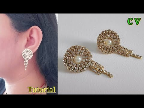How To Make Designer Earrings / Jewellery making / Stud Earrings / Tutorial