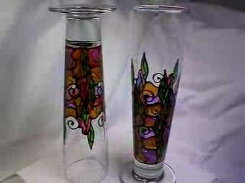 hand painted pilsner glasses