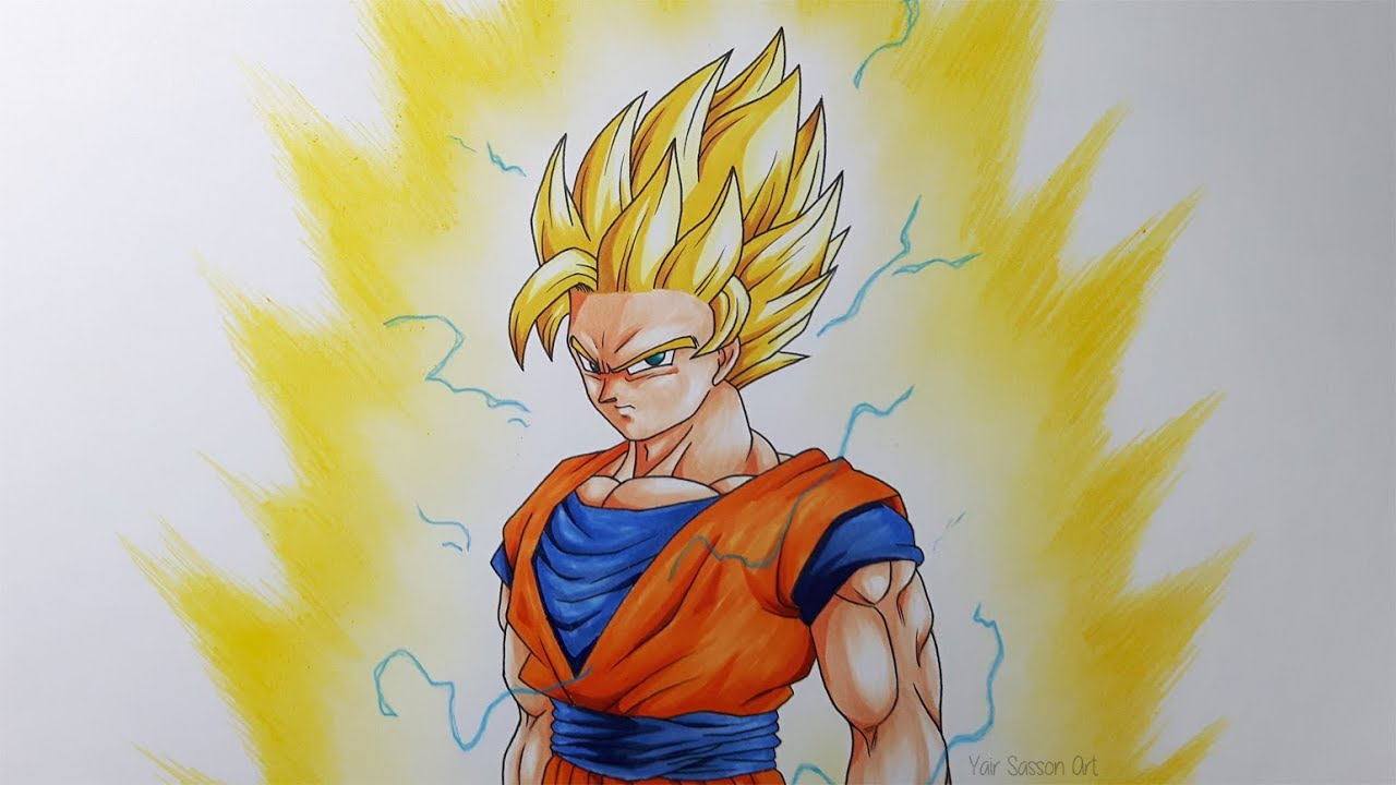Drawing Goku Super Saiyan 2 - YouTube