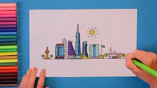 How to draw and color Jeddah Skyline, Saudi Arabia