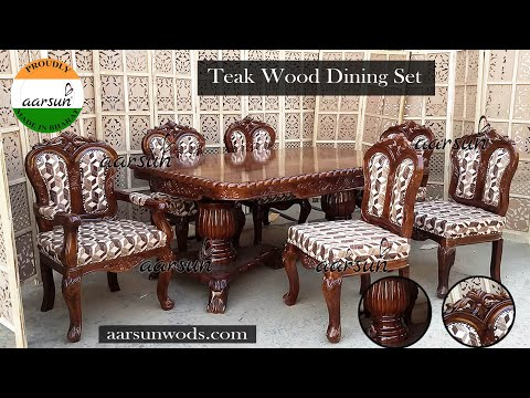 #60 Solid Wood 6 Seater Dining Table Set, Handcrafted Dinner table Chair by Aarsunwoods.com