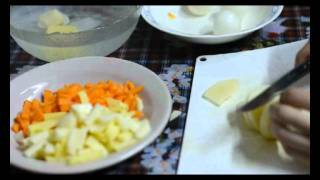 Курс очистки и жарки: Картофель, лук и морковь. ОТ и ДО.