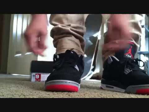 c5b869a974caf7 jordan 4 bred 2012 on feet - YouTube