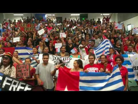 University of the South Pacific students standing in solidarity with West Papua