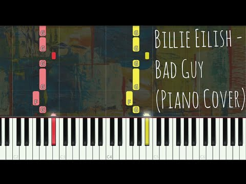 Billie Eilish - Bad Guy  (Piano Cover, Synthesia Tutorial)