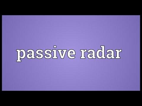 Passive radar Meaning