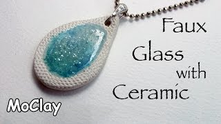 Faux ceramic pendant with fused glass - Polymer clay tutorial