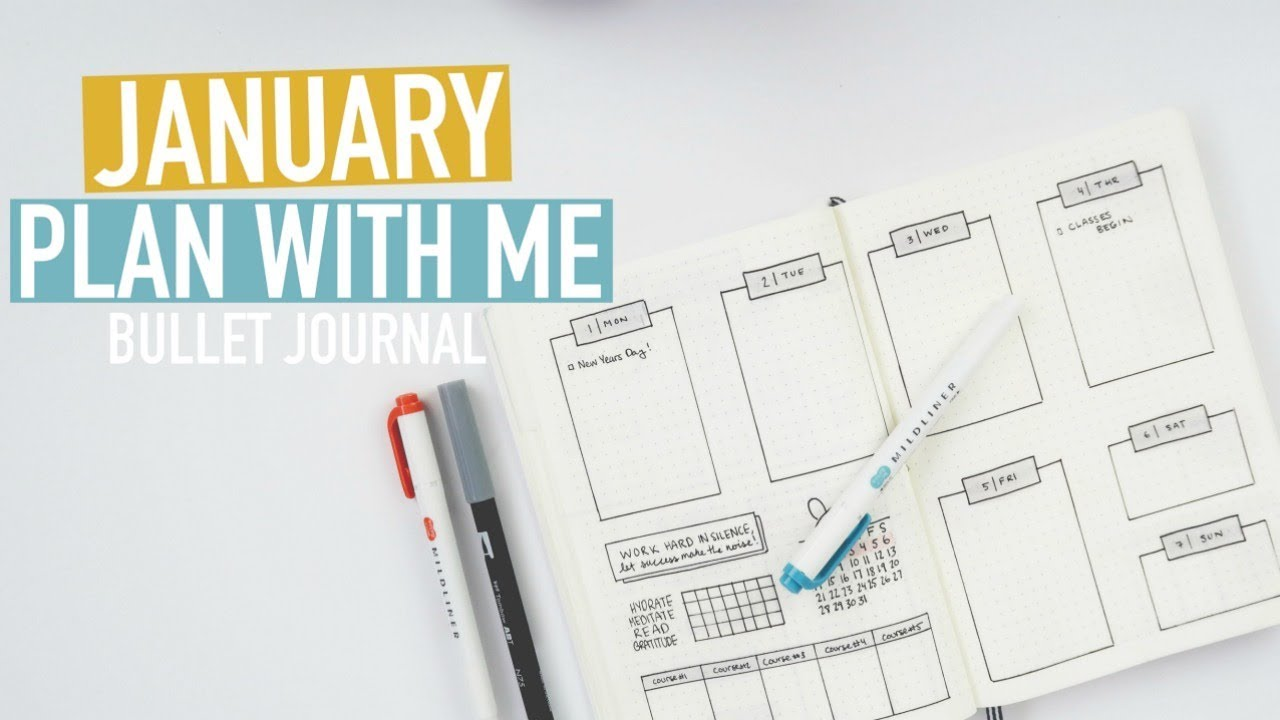 bullet journal plan with me january 2018