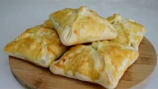 Конвертики из слоеного теста с начинкой \ Конвертики с колбасой и сыром
