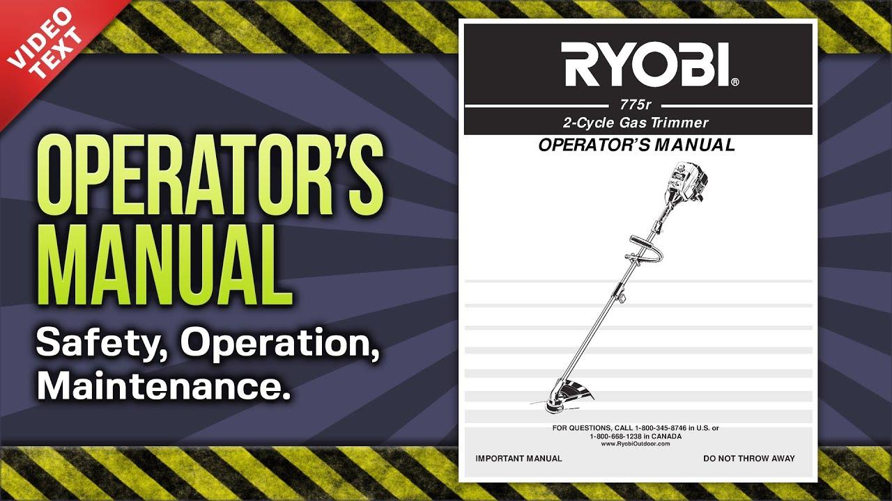 Ryobi Strimmer Manual Plt 3043ye Petrol Split Boom Curved Shaft Trimmer Spares Diagram Array Operator U0027s 775r 2 Cycle Gas 769 00738 Youtube Rh