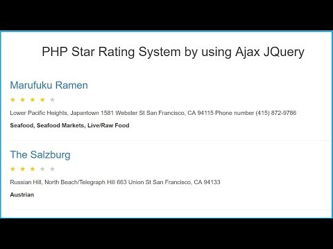 Dynamic Star Rating system by using PHP Script with Ajax