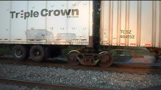 Norfolk Southern Train Pulling Triple Crown Trailer Trucks Over Bad Tracks