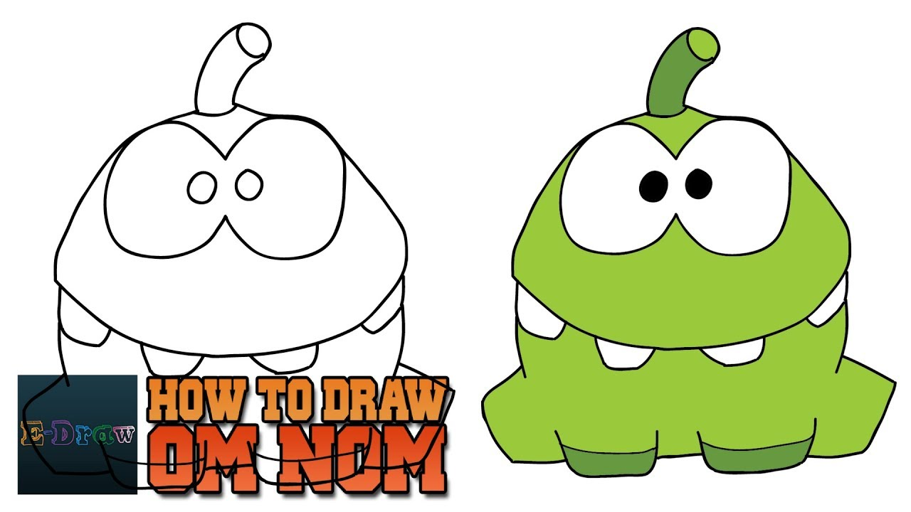 How To Draw Om Nom Cut The Rope Art Tutorial Easy Step By Step For