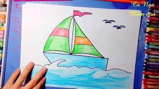 Dạy bé học vẽ thuyền buồm- How to draw sail boat-  vẽ thuyền buồm