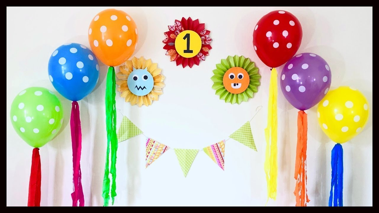 Very Easy Birthday Party Decoration At Home First Birthday Decoration Ideas Party Decorations Youtube