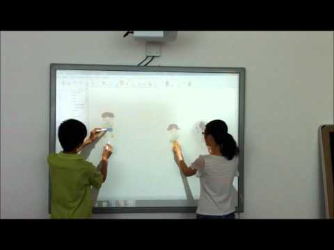 Interactive Whiteboard - 2 users individual multi-touch gesture