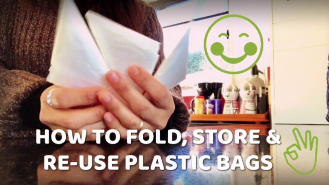 how to fold re use plastic bags home organization youtube. Black Bedroom Furniture Sets. Home Design Ideas