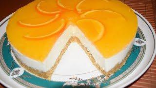 Нежный торт с апельсиновым желе ✧ Без выпечки
