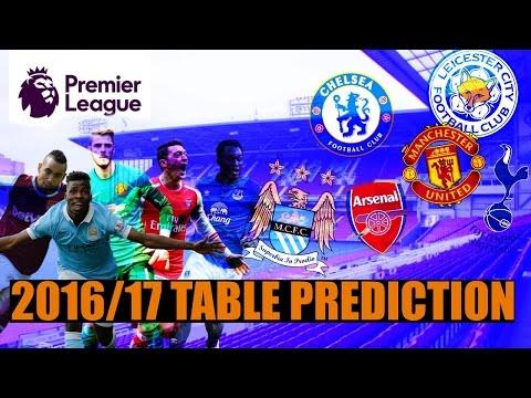 EPL 2016/17 SEASON TABLE PREDICTION!!!