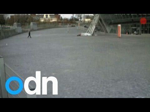 Little girl's miraculous escape from falling glass at Donetsk stadium during shelling