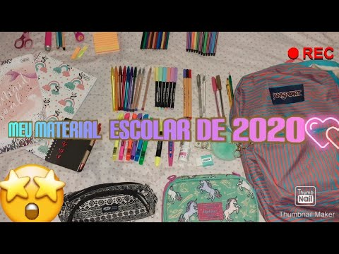 Meu material escolar 2020 📚💖           por:Maryanna Oliveira